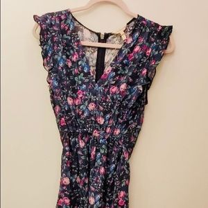 Rebecca Taylor blue silk tie waist floral dress